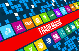 Trademark  concept image with business icons and copyspace.For more variation of this image please visit my portfolio